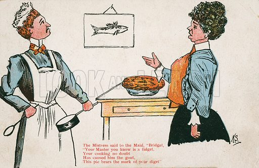 Comic postcard on a food related theme.  One of a collection of over 300.  Early 20th century.  Signed: KS.