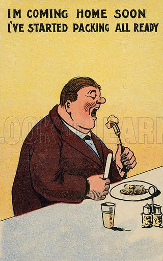 Comic postcard on a food related theme