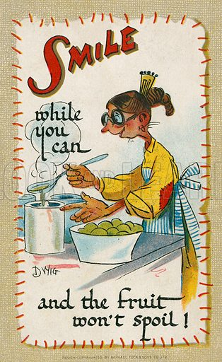 Comic postcard on a food related theme.  One of a collection of over 300.  Early 20th century.  Signed: DWIG.