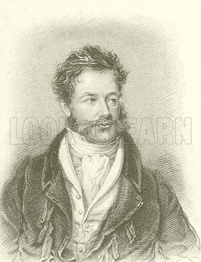 Portrait of Giovanni Battista Belzoni.  Illustration for Arliss's Literary Collections (H A Arliss, c 1830).