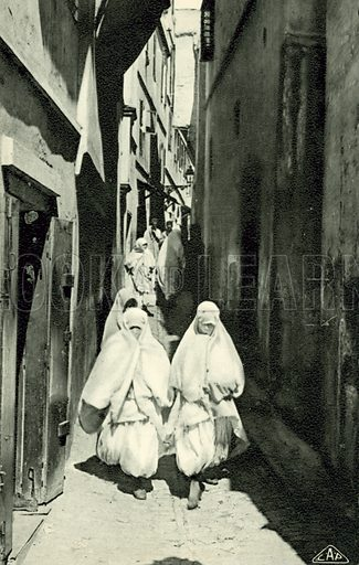 Illustration for one of a set of postcards on the subject of a visit to the Casbah in Algiers (Cap, c 1910).  No photo credit.