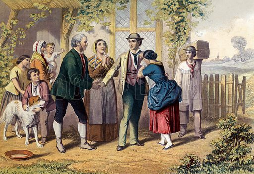 The Emigrant's Farewell.  Illustration for The Christian Miscellany and Family Visiter for the Year 1860 (John Mason, 1860).