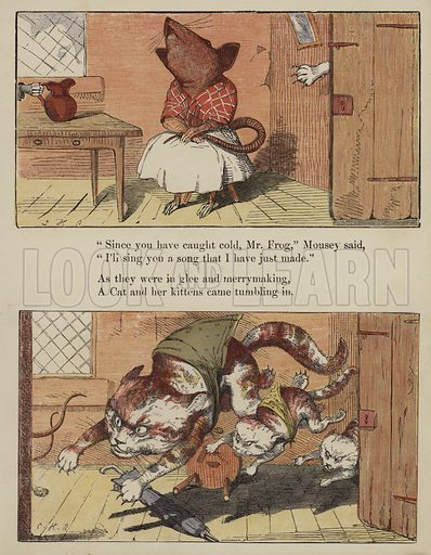 The Frog Who Would A Wooing Go.  Illustration for The Comical Story Book (George Routledge, c 1880).