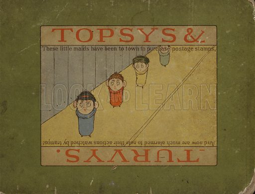 Cover illustration for Topsys & Turvys by P S Newell (Century Co, New York, 1893).