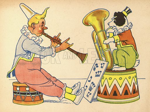 Clown and dog making music.  Illustration for Painting Book (np, c 1950).