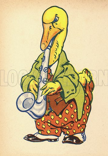 Duck playing saxophone.  Illustration for Painting Book (np, c 1950).