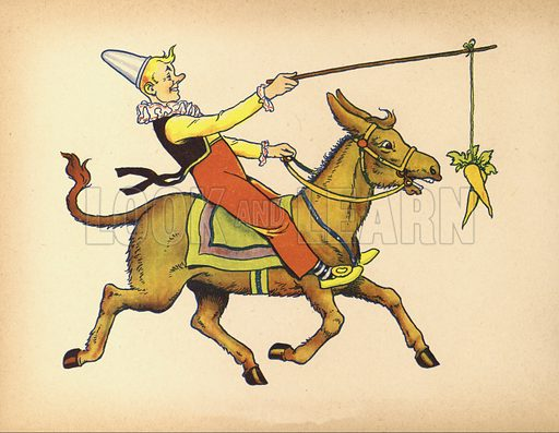 Clown enticing donkey to the fair by hanging a carrot in front of its eyes.  Illustration for Painting Book (np, c 1950).