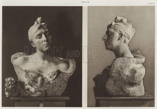 Madame Morla Vicunha. Buste, marbre. Illustration for Rodin by Leonce Benedite (Albert Levy, c 1920). Printed in Heliogravure. Photograph taken by either Paul-Joseph-Albert Chevojon (1865-1925) or Francois Antoine Vizzavona (1876-1961).