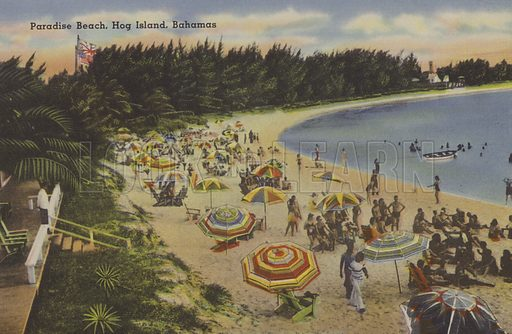 Paradise Beach, Hog Island, Bahamas. One of a set of postcards of the Bahamas, c 1940.