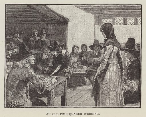 An old-time Quaker wedding. Illustration for Cassell's Family Magazine, 1887.