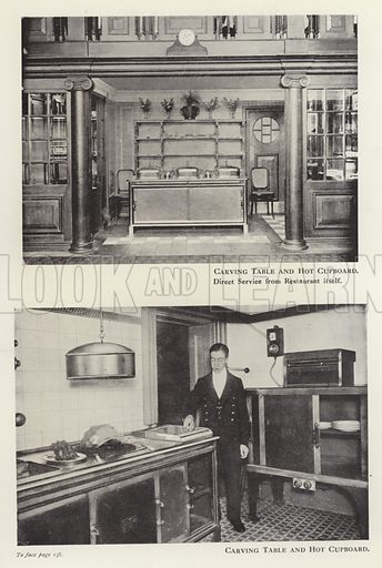 Carving table and hot cupboard. Illustration for Catering Management (Waverley, c 1920).