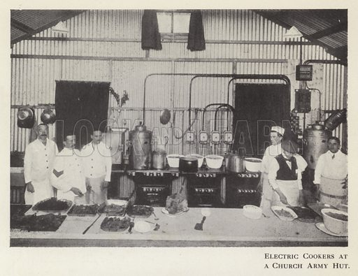 Electric cookers at a Church Army Hut. Illustration for Catering Management (Waverley, c 1920).