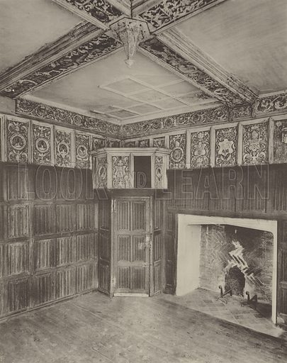 Thame Park, Interior of the Abbot's Parlour. Illustration for The Domestic Architecture of England during the Tudor Period by Thomas Garner and Arthur Stratton (Batsford, 1911). Gravure printed.