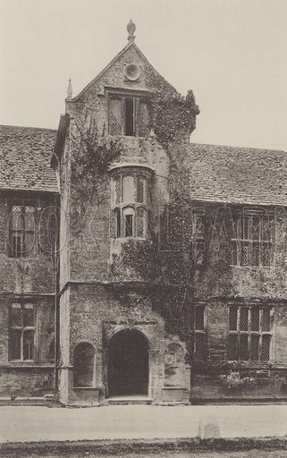 Chantmarle Manor House, Entrance Porch. Illustration for The Domestic Architecture of England during the Tudor Period by Thomas Garner and Arthur Stratton (Batsford, 1911). Gravure printed.