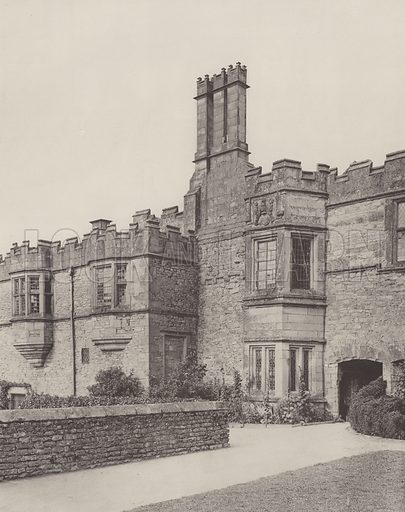 Haddon Hall, Part of the South Front. Illustration for The Domestic Architecture of England during the Tudor Period by Thomas Garner and Arthur Stratton (Batsford, 1911). Gravure printed.