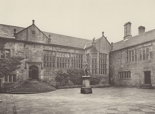 Hoghton Tower, Angle of the Upper Courtyard. Illustration for The Domestic Architecture of England during the Tudor Period by Thomas Garner and Arthur Stratton (Batsford, 1911). Gravure printed.