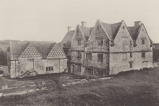 House at Througham, near Stroud. Illustration for The Domestic Architecture of England during the Tudor Period by Thomas Garner and Arthur Stratton (Batsford, 1911). Gravure printed.