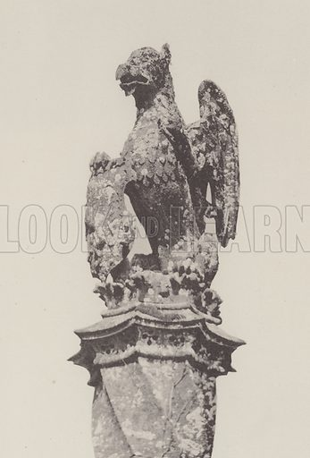 Heraldic Stone Finial, Mapperton Manor House, Dorset. Illustration for The Domestic Architecture of England during the Tudor Period by Thomas Garner and Arthur Stratton (Batsford, 1911). Gravure printed.