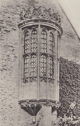 Oriel Window, Great Chalfield, Wiltshire. Illustration for The Domestic Architecture of England during the Tudor Period by Thomas Garner and Arthur Stratton (Batsford, 1911). Gravure printed.