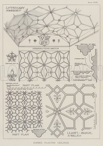 Ribbed Plaster Ceilings. Illustration for The Domestic Architecture of England during the Tudor Period by Thomas Garner and Arthur Stratton (Batsford, 1911).