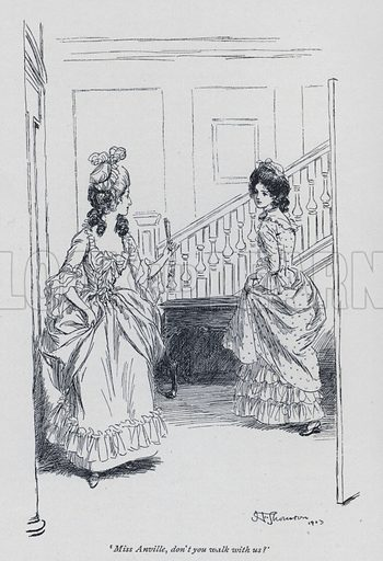 'Miss Anville, don't you walk with us?' Illustration for Evelina, or The History of a Young Lady's Entrance into the World, by Fanny Burney (Macmillan, 1903).