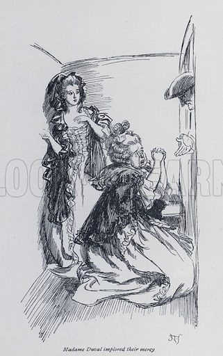 Madame Duval implored their mercy. Illustration for Evelina, or The History of a Young Lady's Entrance into the World, by Fanny Burney (Macmillan, 1903).