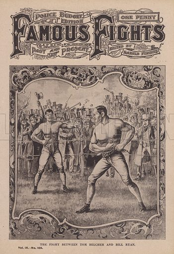 """The fight between Tom Belcher and Bill Ryan. Illustration for Famous Fights, Past and Present, a weekly sporting newspaper published in London from 1901 to 1904. This is the later """"Police Budget"""" edition."""