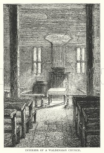 Interior of a Waldensian Church. Illustration for Historical Tales for Young Protestants (Religious Tract Society, c 1885).