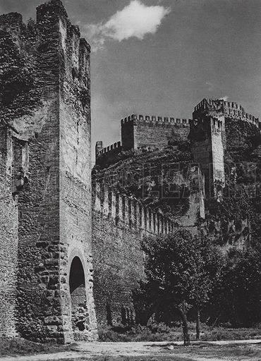 Castello Soave. Illustration for Italien, Baukunst und Landschaft (Ernst Wasmuth, 1925). Gravure printed.