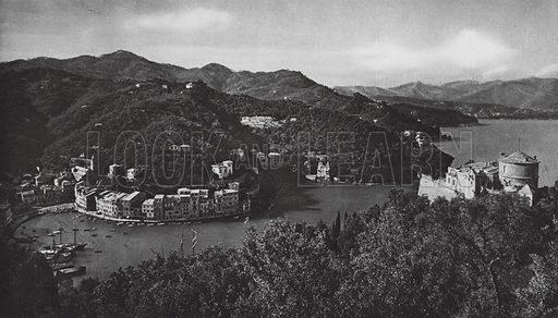Portofino, Riviera. Illustration for Italien, Baukunst und Landschaft (Ernst Wasmuth, 1925). Gravure printed.