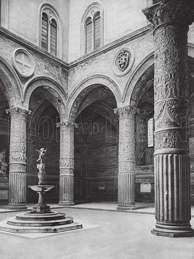 Firenze, Il Cortile del Palazzo Vecchio; Florence, Court in the Palazzo Vecchio. Illustration for Italien, Baukunst und Landschaft (Ernst Wasmuth, 1925). Gravure printed.