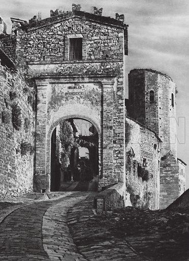 Spello, Porta Venere. Illustration for Italien, Baukunst und Landschaft (Ernst Wasmuth, 1925). Gravure printed.