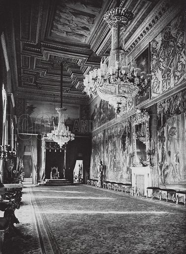 Roma, Palazzo del Quirinale, Sala del Trono; Rome, The King's Palace, Throne Room. Illustration for Italien, Baukunst und Landschaft (Ernst Wasmuth, 1925). Gravure printed.