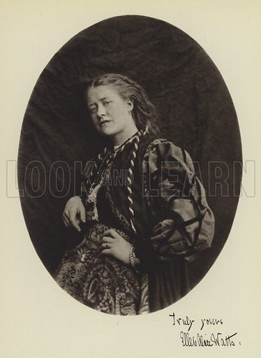 Ellen Terry at the age of eighteen. Illustration for Lewis Carroll Photographer by Helmut Gernsheim (Max Parrish, 1949).