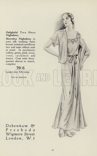 Illustration for New Notes in Lingerie and Pyjamas (Debenham and Freebody, London W1). Assumed 1930s.