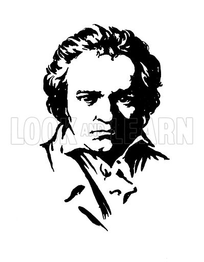 Portrait. Illustration for A Day with Ludwig von Beethoven by May Byron (Hodder and Stoughton, c 1910). Note: Image has been digitally enhanced to permit repro at large size.