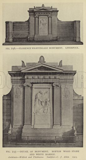 Florence Nightingale Monument, Liverpool; Detail of Monument, Hopton Wood Stone and White Marble. Architects: Willink and Thicknesse. Sculptor: C J Allen, 1913. Illustration for Memorials and Monuments by Lawrence Weaver (1915). Gravure printed.