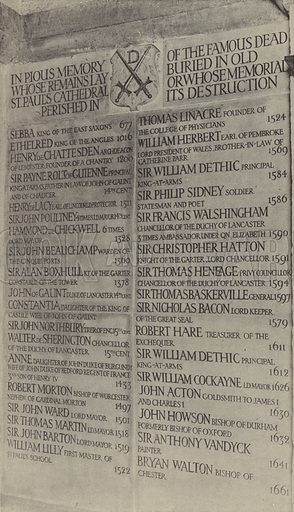 Famous Persons buried in Old St Paul's, St Paul's Crypt, Hillmark Stone Slab, Lettering incised. Architect: Mervyn Macartney. Lettering by MacDonald Gill, 1913. Illustration for Memorials and Monuments by Lawrence Weaver (1915). Gravure printed.