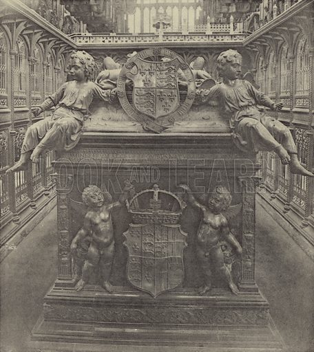 Tomb of Henry VII (East End), Westminster Abbey, Black Marble and Gilt Bronze. Torregiano and English Craftsmen, 1518. Illustration for Memorials and Monuments by Lawrence Weaver (1915). Gravure printed.