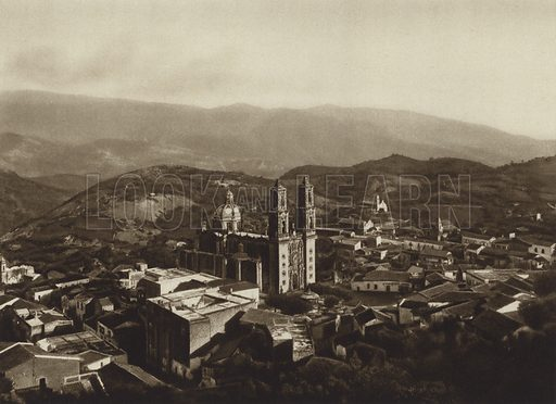 Taxco. Illustration for Mexiko, Baukunst, Landschaft, Volksleben (Ernest Wasmuth, 1925). Gravure printed.