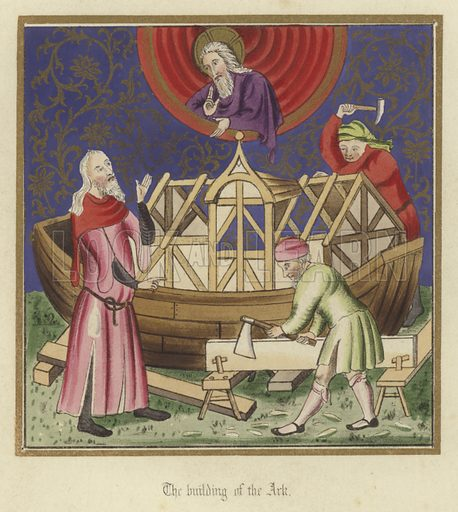 The building of the Ark. Illustration for Illuminated Illustrations of the Bible copied from select Manuscripts of the Middle Ages by J O Westwood (William Smith, 1846).