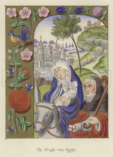 The Flight into Egypt. Illustration for Illuminated Illustrations of the Bible copied from select Manuscripts of the Middle Ages by J O Westwood (William Smith, 1846).