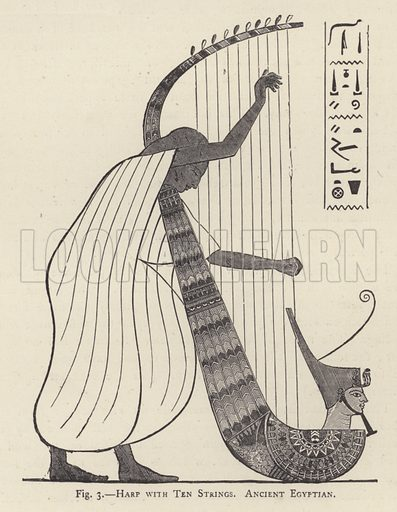 Harp with Ten Strings, Ancient Egyptian. Illustration for A Descriptive Catalogue of the Musical Instruments in the South Kensington Museum (2nd edn, 1874).