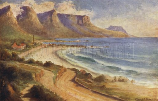Camps Bay. Illustration for Our Beautiful Peninsula, An Appreciation of the Charms of Scenery and interesting associations of the Cape Peninsula, South Africa, by Herbert Tucker with illustrations by South African Artists (Dennis Edwards, c 1914).