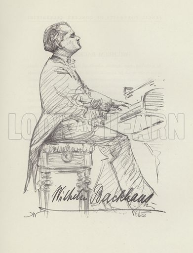 Wilhelm Backhaus. Illustration for Pencil Portraits of Concert Celebrities by Hilda Wiener with biographical sketches by D Millar Craig (Pitman, 1937).
