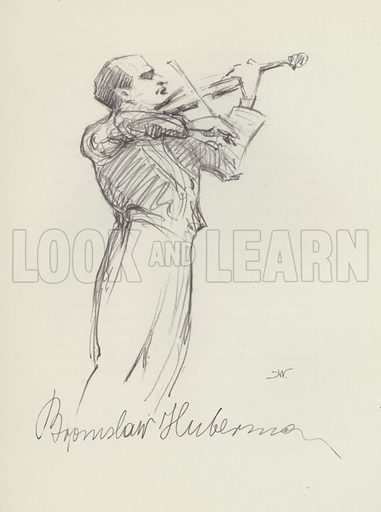 Bronislaw Hubermann. Illustration for Pencil Portraits of Concert Celebrities by Hilda Wiener with biographical sketches by D Millar Craig (Pitman, 1937).