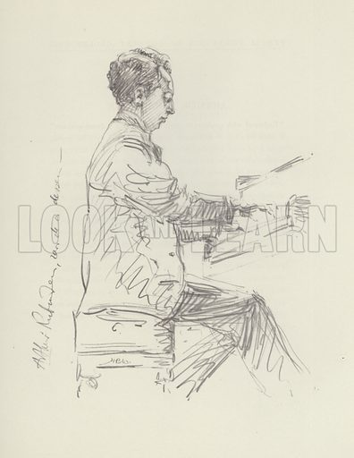 Arthur Rubinstein. Illustration for Pencil Portraits of Concert Celebrities by Hilda Wiener with biographical sketches by D Millar Craig (Pitman, 1937).