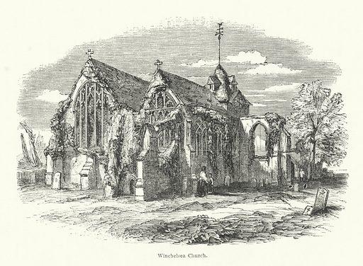 Winchelsea Church. Illustration for Pictorial Half Hours edited by Charles Knight, Vols 1 and 2, c 1860.