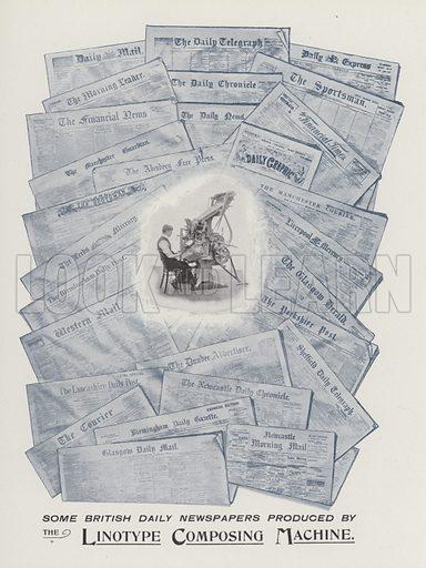 Linotype Composing Machine. Illustration for Progress of British Newspapers in the Nineteenth Century, Illustrated (Simpkin, Marshall, Hamilton, Kent, c 1901).