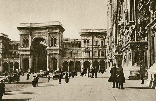 Duomo E Galleria Vittorio Emanuele, Dettaglio. Illustration for Ricordo di Milano (A Rizzoli, 1927 or earlier).